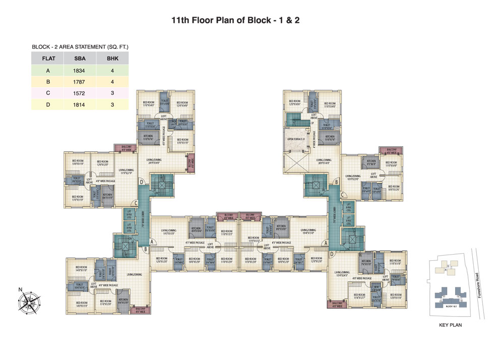 Block 1 & 2 - 11th Floor Plan