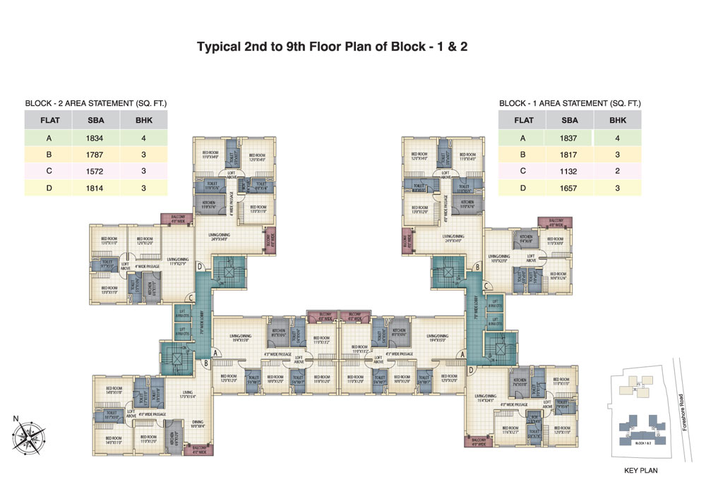 Block 1 & 2 - 2nd to 9th Floor