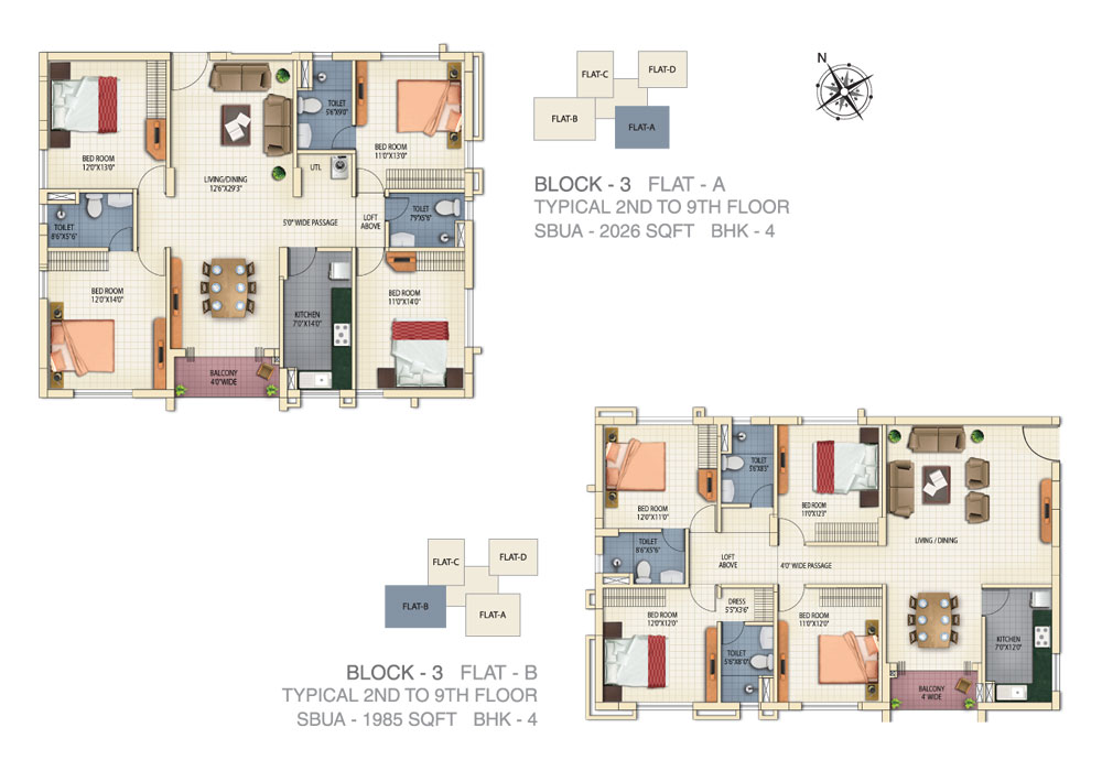 Block 3 - Flat A & B - 2nd to 9th Floor